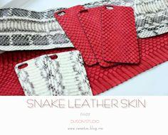 handmade factory DUSON: white phyton red snake leather I phone skin cover