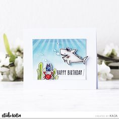2 shark-tastic birthday cards with Kaja Birthday Sentiments, Birthday Cards, Summer Birthday, Happy Birthday, Underwater Images, Alcohol Markers, Color Box, Ink Pads, Distress Ink
