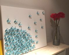 Items similar to custom handmade 3D paper butterfly canvas, butterflies, nursery decor, romantic wedding gift,  reverse heart---made to order. on Etsy