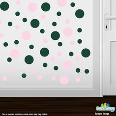Baby Pink / Dark Green Polka Dot Circles Wall Decals