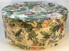 Extra Large Hat Box in Vintage Yellow Floral by TheTeaberryCottage