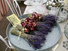 lavender and rose bouquet Lavender Bouquet, Lavander, Lavender Fields, Rose Bouquet, Malva, Sunflower Fields, Shabby Chic, Provence, Flowers