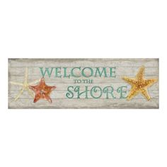 "Elegant Beach Coastal Decor Poster: Watercolor Starfish Shells Beach Driftwood Welcome Sign, 36"" x 12"" easy to frame $29.95.  #beach #decor #coastal #watercolor #art #starfish"