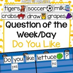 Question of the Day:  Question of the Day {Likes} Do you like pattern sentence to use for as your question of the week/day.  The question of the day/week can be used in pocket carts, bulletin boards, or magnet boards.  In my classroom, my question of the week is on the refrigerator.