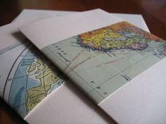 Cool idea for a travel themed wedding... map wedding invitations!