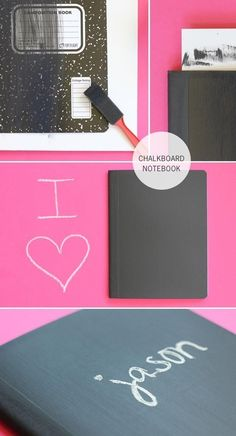 Chalkboard a notebook. | 23 DIYs To Try With Your Kids Before School Starts