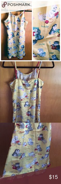 Vtg Kitty Cat Nightie Satin Butter cream yellow with kitties & days of the week. Red ruffle trim at bottom 🐱🐱🐱 Vintage Intimates & Sleepwear Chemises & Slips