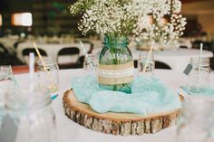 baby's breath, wood piece, mason jar, wedding reception, center piece