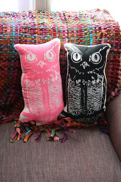 Sassy Screenprints 'Vintage' Owl Pillow