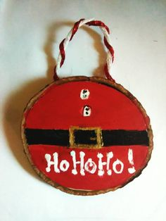Santa wooden ornament : Handmade - made out of wood -cut painted and sanded Diy Christmas Garland, Painted Christmas Ornaments, Wooden Ornaments, Handmade Ornaments, Christmas Crafts For Kids, Rustic Christmas, Christmas Art, Christmas Projects, Holiday Crafts