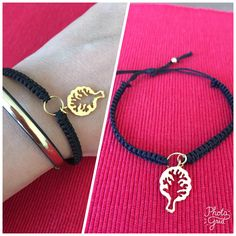 Macrame bracelet gold and black with little tree handmade jewelry