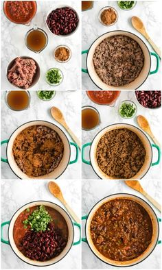 step by step photos for how to make easy chili Fast Healthy Meals, Healthy Recipes, Healthy Food, Chili Recipes, Crockpot Recipes, Easy Chilli, Crock Pot Freezer, Chana Masala, Make It Simple