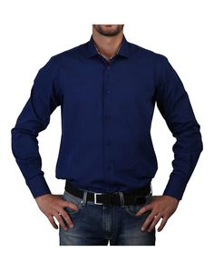 Man shirt, neck half french small - 100% cotton - long sleeves - wash 30°c - Shirt men Blue