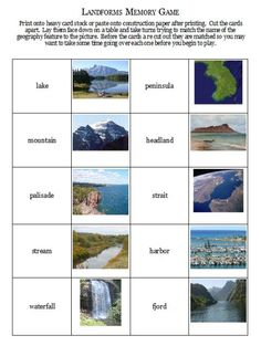 Landforms memory game - free printable
