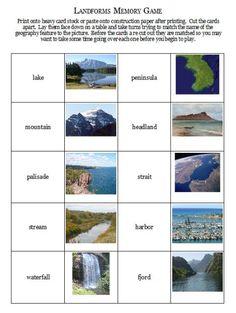 Landforms memory game - free printable