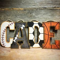Shop these Rustic sports letters at www.crownedlily.com