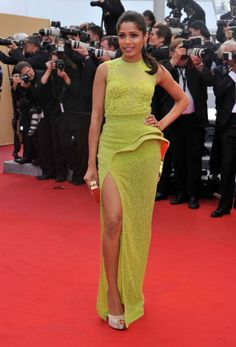 Freida Pinto in Atelier Versace  Pinto's feeling slitty again at the Cannes Film Festival 2012