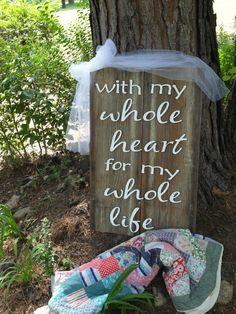 Custom Laser Engraved Wooden Wedding Sign via Etsy.