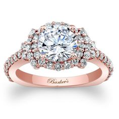 Barkev's 14K Rose Gold Elegance Halo Diamond Engagement Ring Featuring 0.72 Carats Round Cut Diamonds Style 7979L
