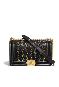 80692d142f6a BOY CHANEL Handbag, embroidered pleated calfskin & gold-tone metal, black -  CHANEL