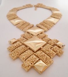 Monet Statement Necklace 1980's Gold Nugget by Libbysmomsvintage