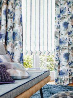Color coordinating window treatments: Lavinia (drapery), Banda (Flat Roman Shade) and Belcanto (upholstery). Traditional Interior, Free Interior Design, Fabric Shades, Window Curtains, Window Treatments, Upholstery, Furniture, Home Decor, Textiles