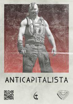 Contro Batman il fascista! Against Bat-Man the fascist watcher! #SciFi #Fantascienza #Cinema #Movies #BatMan #Bane #Villains #Revolution #Rivoluzione #Poster #Cattivi #FanArt