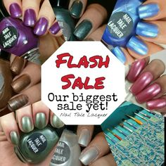 Everyone, Nail Tale Lacquer is having a HUGE 24 HOUR FLASH SALE! All polishes and brush cases are marked down more than they have ever been before! Go to nailtalelacquer.etsy.com to checkout our shop! You can't miss this!