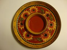 Pier 1 Chip & Dip Tray Sunflower Appetizer Dish Hand Painted Terracotta #Pier1Imports
