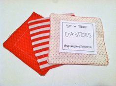 set of three red and white coasters by lorrabeth on Etsy, $6.00