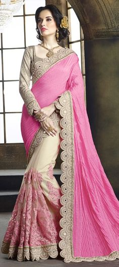193057 Beige and Brown, Pink and Majenta color family Embroidered Sarees, Party Wear Sarees, Silk Sarees in Crushed Silk, Net fabric with Border, Cut Dana, Stone, Thread work with matching unstitched blouse.