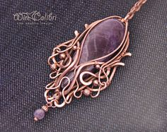Amethyst stone pendant necklace wire wrapped by Wirecolibri, $ 110.00