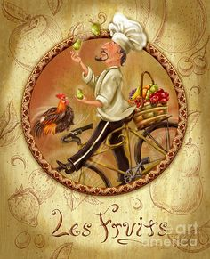 Chefs On Bikes-les Fruits. Chef riding his vintage bicycle from the market with a basket filled with fresh fruit and a rooster. Fun artwork for the kitchen or dining room. Artist, Shari Warren.