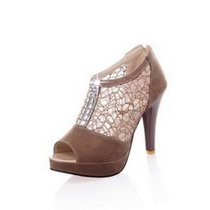 WeiPoot Women's Peep Toe High Heel Blend Materials Solid Sandals with Rhinestones ** Learn more by visiting the image link.