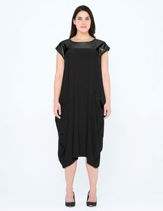 Link Faux leather detail balloon dress in Black