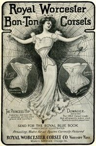 """free printable digital image design resource ~ vintage women's fashion ~ Royal Worcester Bon-Ton Corsets magazine advertisement from, """"The Delineator Magazine"""", October 1902"""