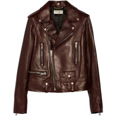 Saint Laurent Leather biker jacket ($4,285) ❤ liked on Polyvore featuring outerwear, jackets, coats, leather jacket, burgundy, real leather jacket, burgundy leather jacket, leather biker jacket, brown moto jacket and biker jacket