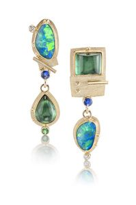 Isabella Pissolico  Dance Partner Earrings Description: One-of-a-kind pair of earrings, designed, roller printed 14k, 18k and 22k recycled gold, hand formed, constructed, and soldered by Artist with opals, green tourmalines, .10ct diamonds t.w., and blue sapphires.Dimensions: H:1.50 x W:0.55 x D:0.65 Inches
