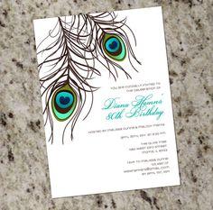 PEACOCK Invitation  PRINTABLE DESIGN  Wedding by Whirlibird, $12.99