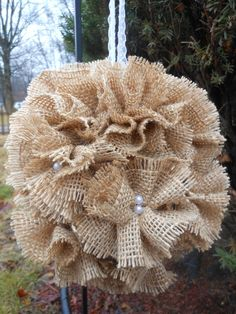 Burlap Flower Girl Kissing Ball is a beautiful alternative to the flower girl basket. The rustic kissing ball has a burlap ribbon handle for easy carrying. Burlap Lace, Burlap Flowers, Burlap Wreath, Fabric Flowers, Burlap Ribbon, Hessian, Diy Wedding, Wedding Flowers, Wedding Ideas