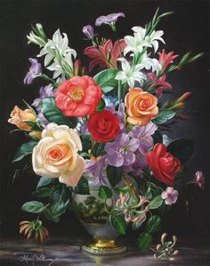 Buy online, view images and see past prices for Albert Williams Summer flowers in a Paris porcelain vase, 20 x Invaluable is the world's largest marketplace for art, antiques, and collectibles. Arte Floral, Flower Vases, Flower Art, Still Life Art, Summer Flowers, Floral Arrangements, Beautiful Flowers, Watercolor Paintings, Floral Wreath