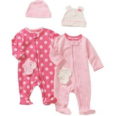 Child of Mine by Carters Newborn Baby Girls' 8 Piece Hat, Mitten and Sleep n Play Set