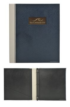 San Clemente Inn - Faux Leather Guest Directory Covers - Ostrich faux leather binder with faux leather quarter bind, embossed logo in brass plate in cover All Items Are Custom Made to Order. Call or Email For More Customization Options
