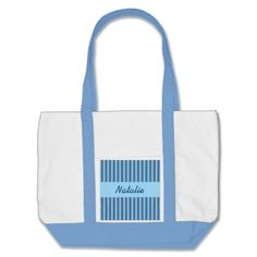 Wedding Favor Stripes Custom Name V21 BLUE Canvas Bag   To see more customizable striped Jaclinart gift items:   http://www.zazzle.com/jaclinart+striped+gifts?st=date_created&ps=120  #stripes #striped #pattern #jaclinart #design #create