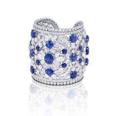 Best Diamond Bracelets : Sapphire & Diamond Cuff by Graff Graff Jewelry, Sapphire Jewelry, Sapphire Diamond, Diamond Stud, Gemstone Earrings, Blue Sapphire, Diamond Earrings, Pearl Earrings, Hoop Earrings