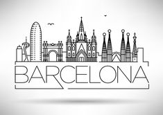 Illustration of Minimal Barcelona City Linear Skyline with Typographic Design vector art, clipart and stock vectors. City Drawing, City Sketch, Barcelona City, Travel Drawing, Usa Tumblr, Typographic Design, Typography, Silhouette Vector, City Art