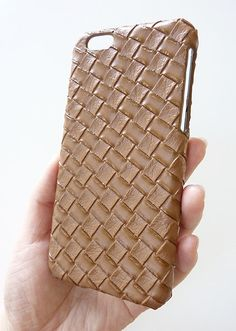 For Apple iPhone 6 4.7 Washed Brown Leather Woven Phone Case by Yunikuna