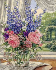 Dimensions Needlecrafts Counted Cross Stitch, Peonies And Delphiniums Dimensions Needlecrafts http://smile.amazon.com/dp/B0030OZGVQ/ref=cm_sw_r_pi_dp_TAdPub0NPKYEQ