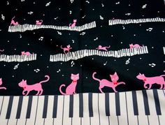 Cat and Piano Print half yard by beautifulwork on Etsy, $8.98