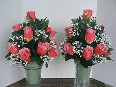 Cemetery Vase Memorial Flowers/Pink Matching Set Funeral Flower Arrangements, Beautiful Flower Arrangements, Floral Arrangement, Beautiful Flowers, Grave Flowers, Cemetery Flowers, Funeral Flowers, Flower Ideas, Diy Flowers